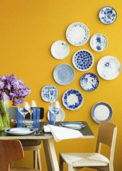 yellow wall paint designs for dining room