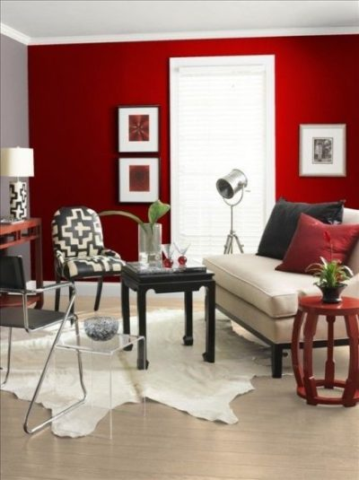 red wall paint design for living room
