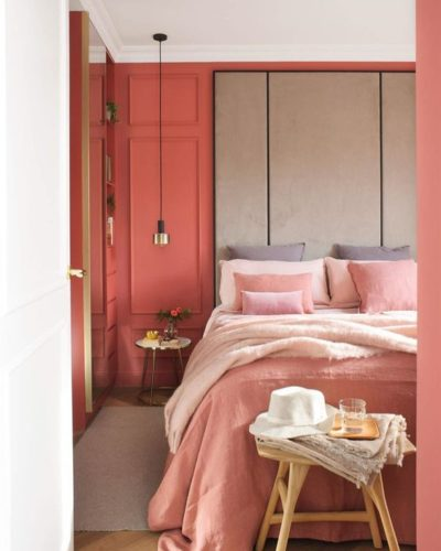 coral themed bedroom design
