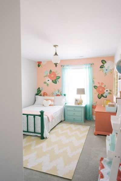 coral themed kids bedroom