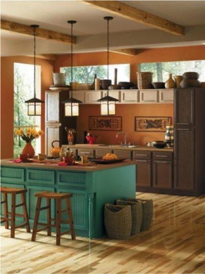 orange and teal kitchen colour scheme