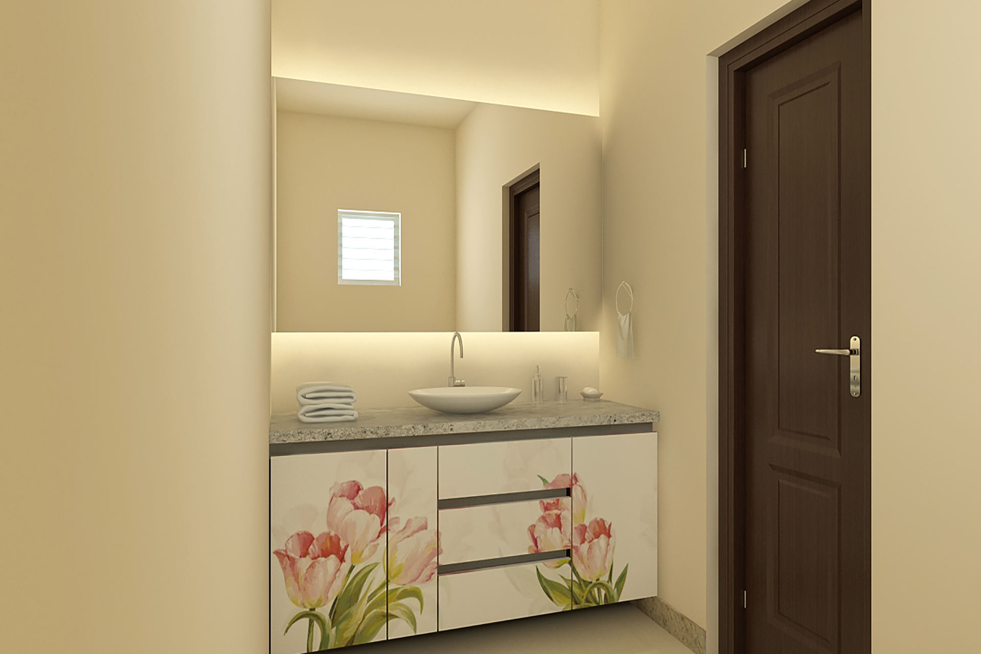 sink with floral cabinet
