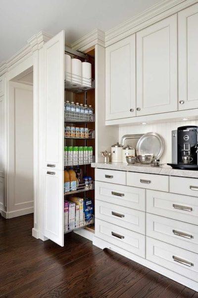 sliding pantry in kitchen