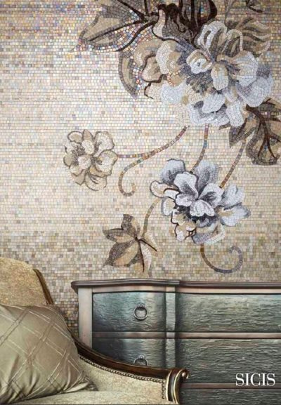 wall decor using mosaic in bedroom