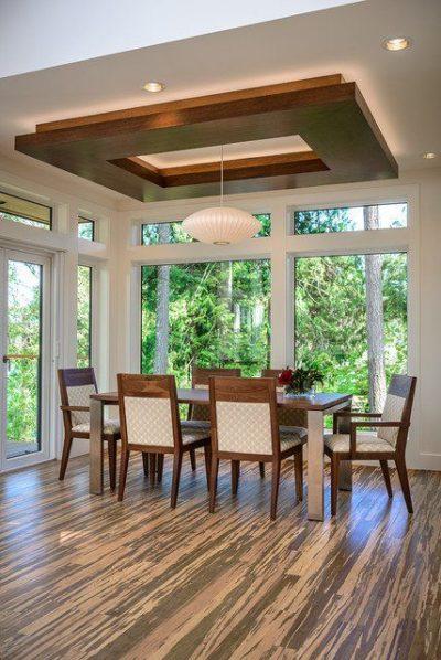 geometric wood panelled false ceiling