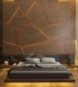 geometrical headboard ideas for bedroom