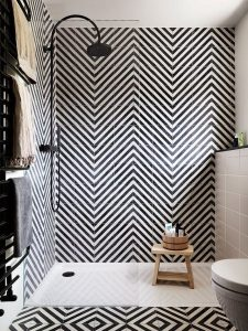 asymmetric design tiles for bathroom
