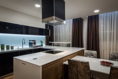ceiling mounted chimney design ideas for modular kitchen
