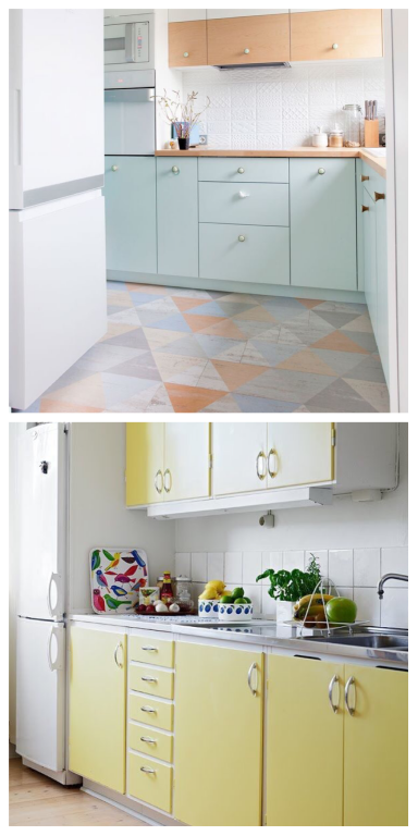 pastel colored kitchen