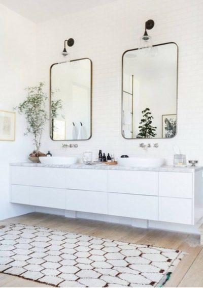 double vanity mirror in bathroom