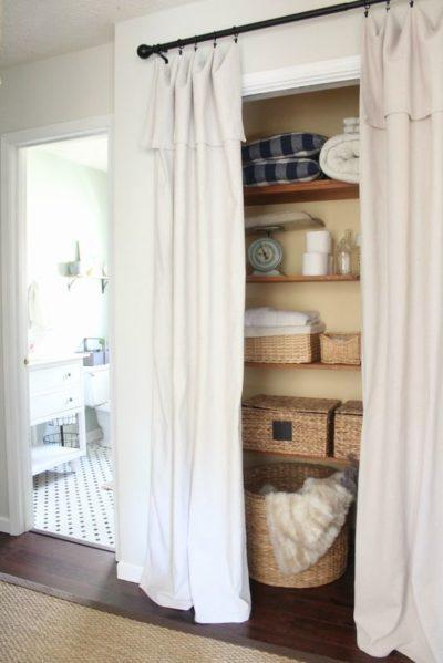 behind curtain storage ideas