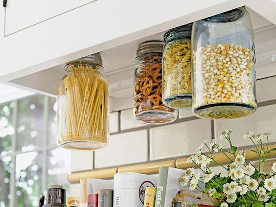 hanging mason jars for saving space in kitchen