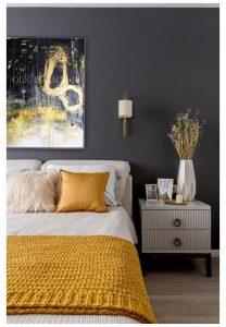 Dark gray and bright yellow bedroom